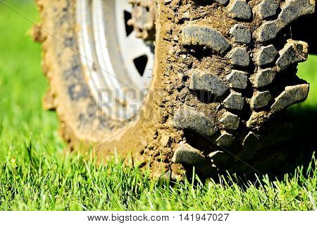 Big vehicle off road wheel and tire full of mud on green grass