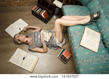 every one has his own cockroaches, beauty girl among books, lifestyle people concept