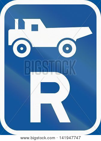 Road Sign Used In The African Country Of Botswana - Reservation For Construction Vehicles