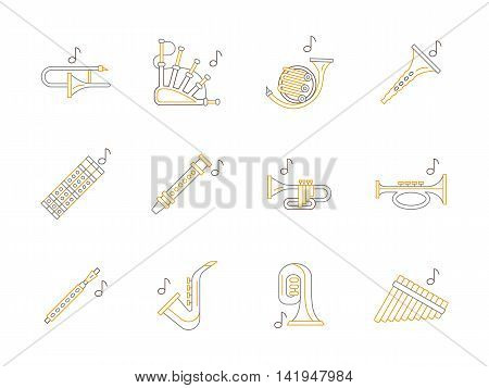 Set of types of brass and woodwind musical instruments. Clarinet, sax, trumpet and others instruments for music concerts, entertainment, record studio. Flat gray and yellow line style vector icons.