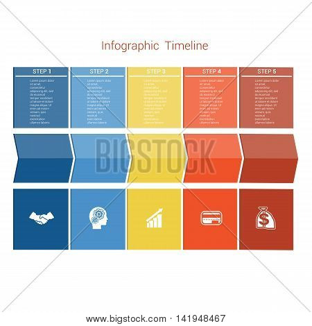 Template Timeline Infographic colored arrows numbered for five position