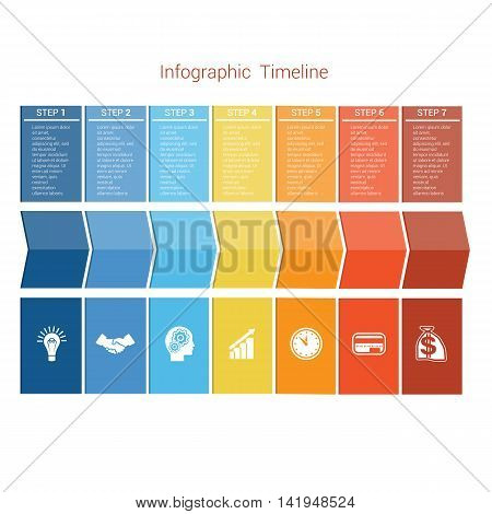 Template Timeline Infographic colored arrows numbered for seven position