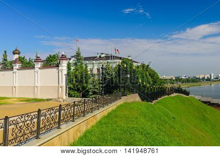 Kazan, Russia - June 11, 2016: the Palace of the President of the Republic of Tatarstan on the territory of the Kazan Kremlin in the June 11, 2016, Kazan, Russia.