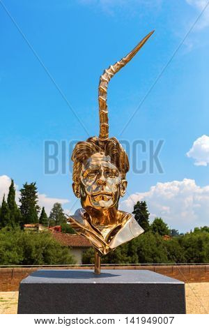 Golden Sculpture At The Forte Di Belvedere In Florence, Italy