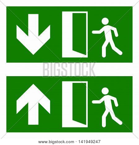 Emergency fire exit sign, exit in case of fire