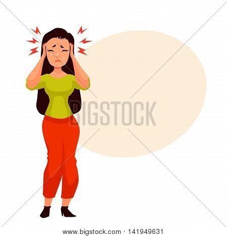 Black haired young woman having a headache, cartoon style vector illustration isolated on white background. Beautiful girl having migraine, feeling unwell and sad, crying from pain