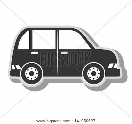 minivan vehicle transport, isolated flat icon design