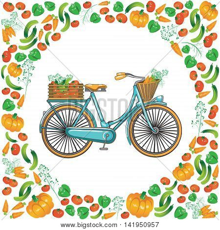 Healthy Lifestyle infographic. Postcard bike with a basket and a box of vegetables on white background.