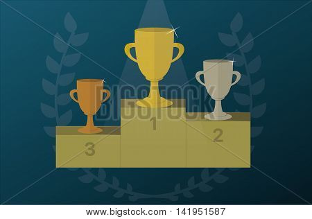 Trophy cups on a pedestal with Laurel wreath. Award icon or sign. Vector illustration.