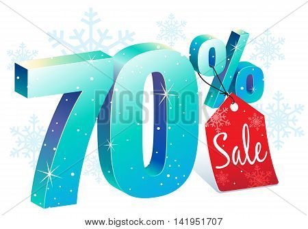 Winter Shopping 70 Percent Off Sale Discount Ice Sign with Price Tag
