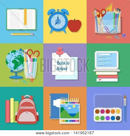School supplies and items set. Back to school. Textbook, laptop, backpack, notebook, globe, stationery, art supplies. Education and learning. Flat Vector illustration.