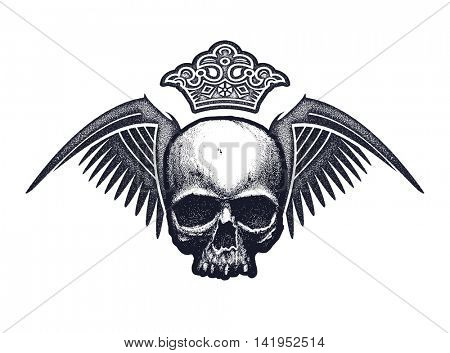 Black and white human skull with wings and crown. Hand drawn jpeg version