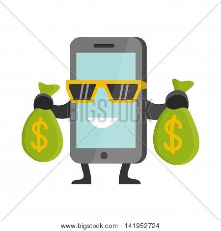Flat Business Concept Cartoon Smartphone Character Earning Money