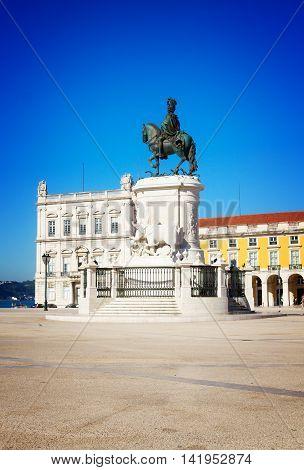 Commerce square details - Praca do Comercio - at sunny day, Lisbon, Portugal, retro toned