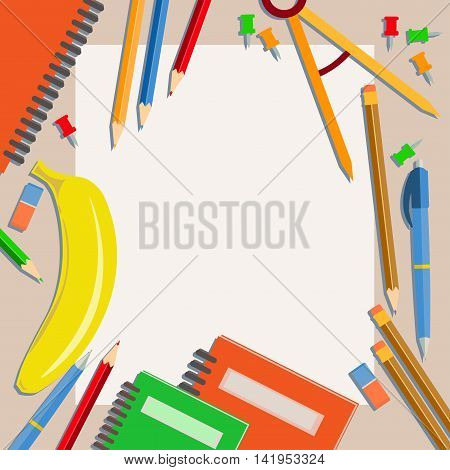 Subjects are laid out on a table with an empty surface for writing. Back to school