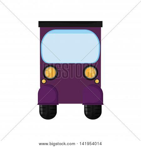 flat design purple rickshaw or tuk tuk icon vector illustration