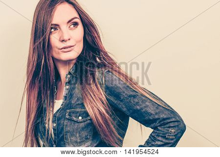 Lady Is Wearing Jeans Shirt.