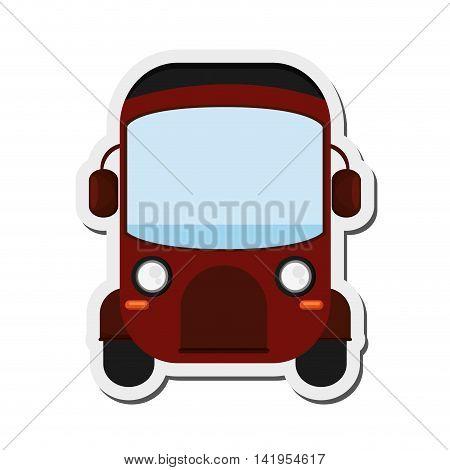flat design red rickshaw or tuk tuk icon vector illustration
