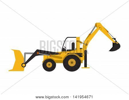 flat design industrial backhoe icon vector illustration