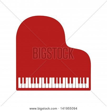 Music instrument piano isolated flat icon colorful design