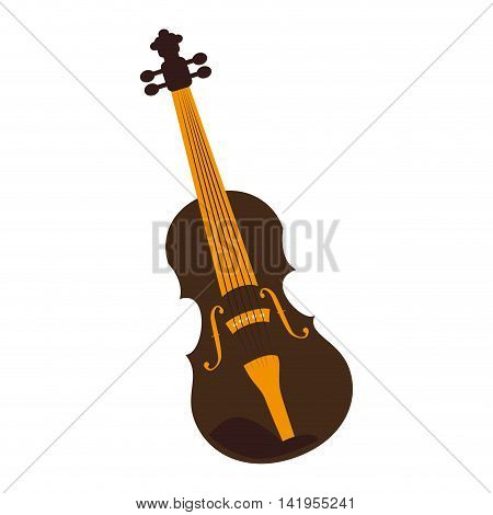 Music instrument violin isolated flat icon colorful design