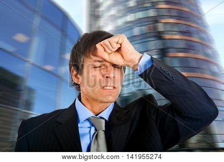 Despaired businessman outdoor