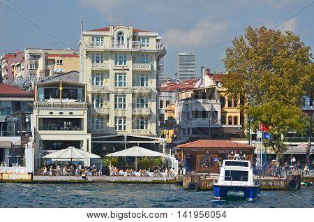 ISTANBUL TURKEY SEPTEMBER 29:Galata Karakoy quarter of Istanbul, Turkey and historic architecture and medieval Galata tower.On september 29 2013 in Istanbul Turkey