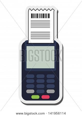 flat design dataphone and ticket icon vector illustration