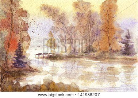 Watercolor hand drawn autumn landscape