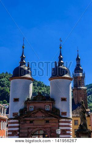 The old bridge in historic town of Heidelberg in Germany