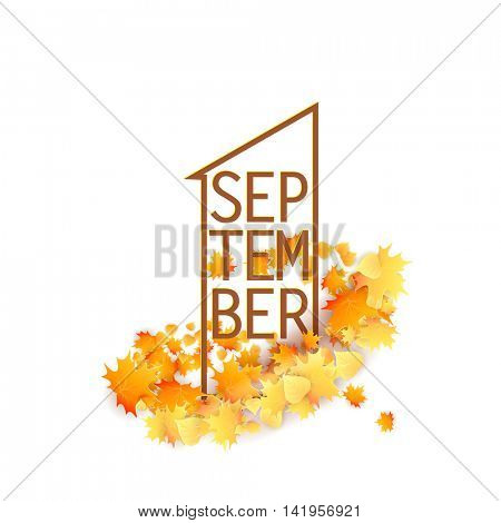 First September Autumn light Background. Bright autumn maple leaves shaped like 1. Square frame. Vector illustration. Back to school.