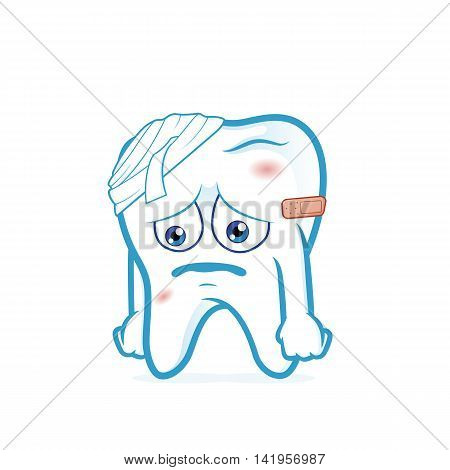 Clipart picture of a tooth cartoon character be injured
