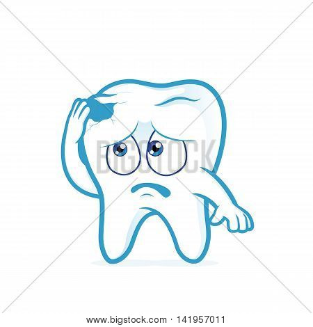 Clipart picture of a tooth cartoon character in pain with cavity