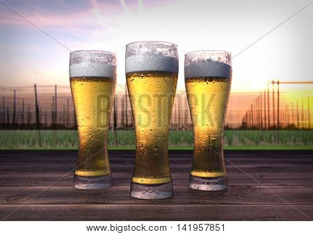 three glasses of beer on wooden desk with hop-garden on background- 3D render