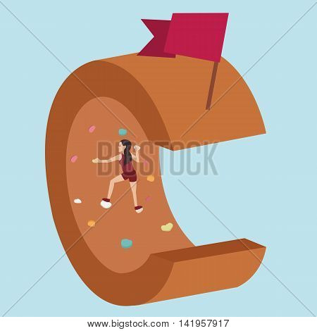 wall climbing try to reach flag as symbol of achievement vector