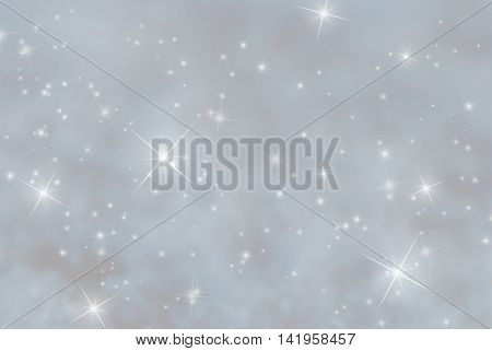 Christmas Background With Snow. Card For Seasons Greetings. Sparkling Stars For Magic Atmosphere. Copy Space For Advertisement. Gray Background Colored With Blue.