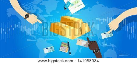 gold bar price market hand holding money transaction vector
