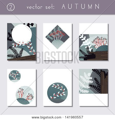 Set of 6 stylized autumn forest designs. US Letter size. Easily croppable to A4 size. Graphics are grouped and in several layers for easy editing. The file can be scaled to any size.