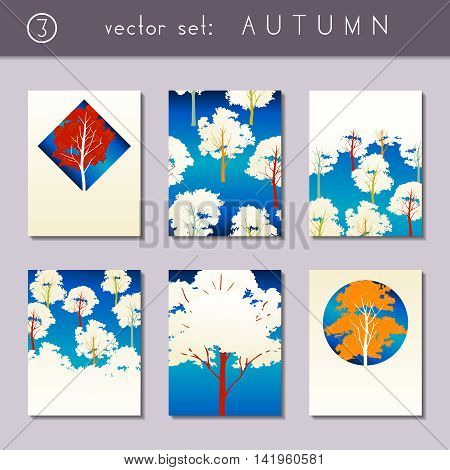 Set of 6 vibrant  autumn forest designs. US Letter size. Easily croppable to A4 size. Graphics are grouped and in several layers for easy editing. The file can be scaled to any size.
