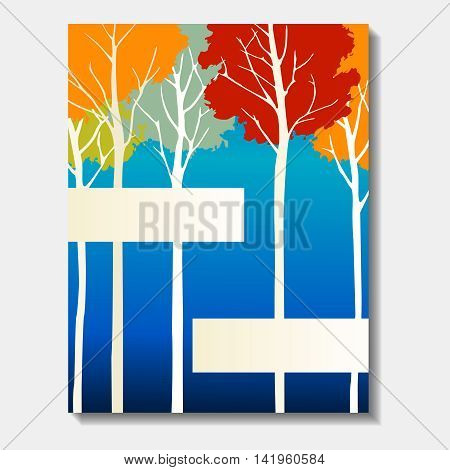 Vibrant  autumn forest design. US Letter size. Easily croppable to A4 size. Graphics are grouped and in several layers for easy editing. The file can be scaled to any size.