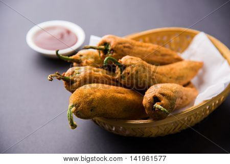 Chilli Pakora or mirch pakoda , An extremely delicious and mouth watering snack of Pakistani & Indian People