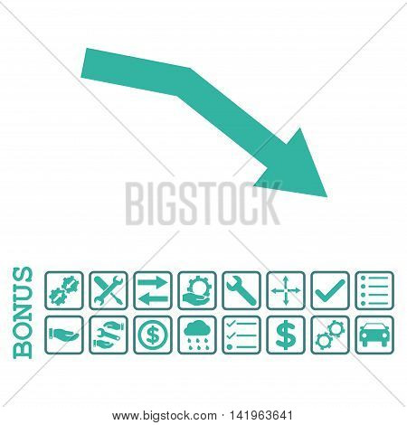 Fail Trend icon with bonus pictograms. Vector style is flat iconic symbol, cobalt and cyan colors, white background. Bonus style is bicolor square rounded frames with symbols inside.