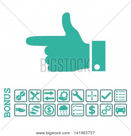 Hand Pointer Left icon with bonus pictograms. Vector style is flat iconic symbol, cobalt and cyan colors, white background. Bonus style is bicolor square rounded frames with symbols inside.