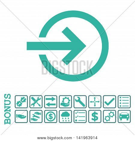 Import icon with bonus pictograms. Vector style is flat iconic symbol, cobalt and cyan colors, white background. Bonus style is bicolor square rounded frames with symbols inside.