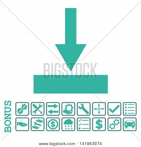 Move Bottom icon with bonus pictograms. Vector style is flat iconic symbol, cobalt and cyan colors, white background. Bonus style is bicolor square rounded frames with symbols inside.