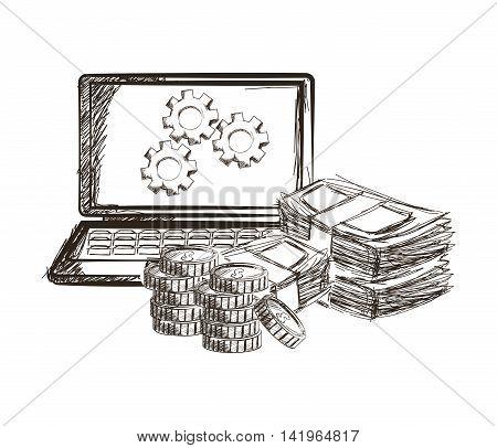 laptop gears coins bills money business icon. Isolated and sketch illustration. Vector graphic