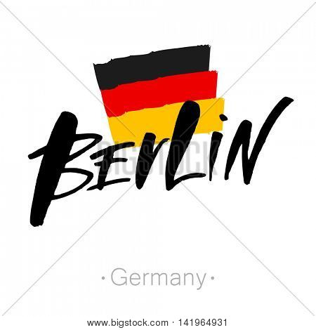 Berlin hand-lettering calligraphy and national Germany flag. Berlin hand drawn vector stock illustration. Modern brush ink. Isolated on white background.