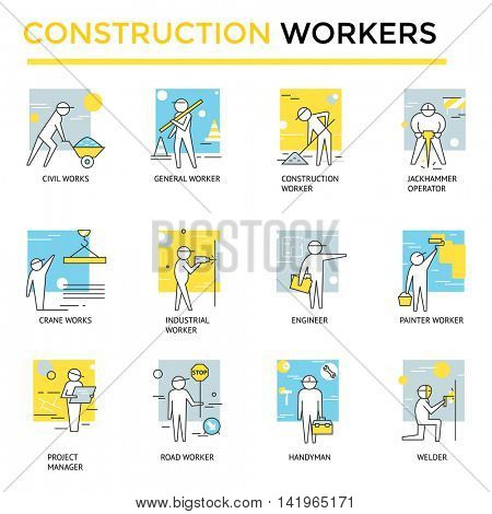 Construction workers set, thin line flat icons