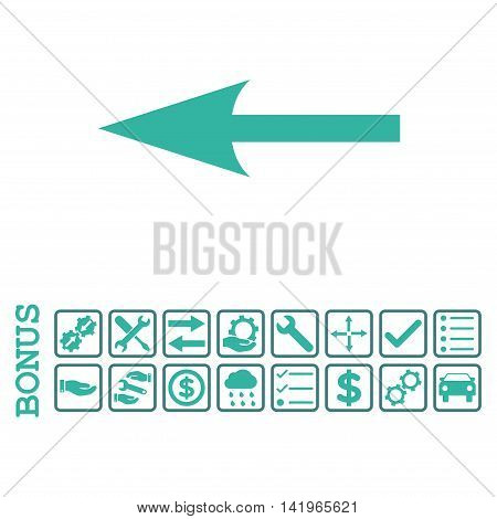 Sharp Arrow Left icon with bonus pictograms. Vector style is flat iconic symbol, cobalt and cyan colors, white background. Bonus style is bicolor square rounded frames with symbols inside.