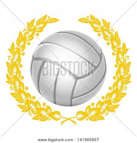 Volleyball Ball in Golden Laurel Wreath. Realistic Vector Illustration. Isolated on White Background.
